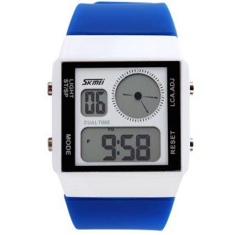 SKMEI Unisex Loves Sport Waterproof Rubber Strap Wrist Watch - Blue 0841