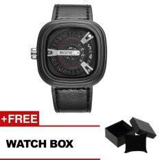 SKONE 9421G Gentleman Unique Fashion Square Mens Watch 2016 New Arrival Sport Quartz Clock Watch-Black + Free Watch Box - Intl