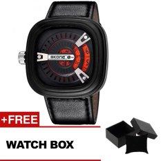 SKONE 9421G Gentleman Unique Fashion Square Mens Watch 2016 New Arrival Sport Quartz Clock Watch-Orange + Free Watch Box - Intl
