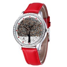 SKONE Full Rhinestones Case Rhinestone Number Rhinestone Big Tree Dial Unisex Watch (Red)