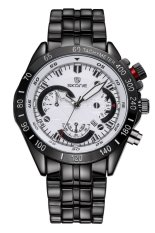 SKONE Luminous Hands Analog Date Calendar Steel Band Men Quartz Sport Military Watches (Black White)