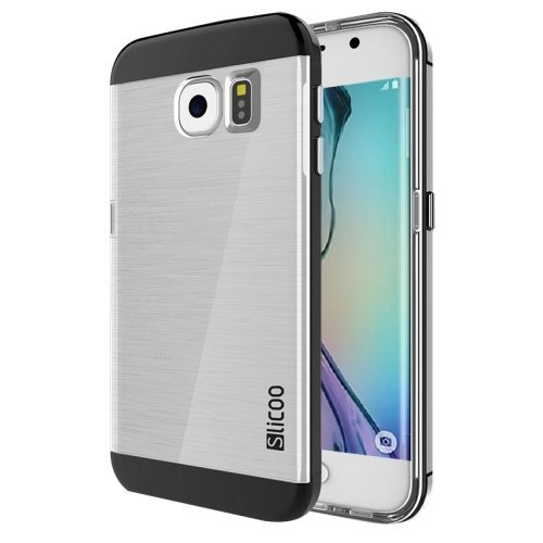 Slicoo Brushed Texture Electroplating Combination Case for Samsung Galaxy S6 Edge - Hitam