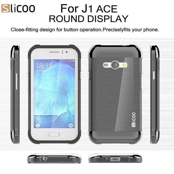 Slicoo Brushed Texture Electroplating PC + TPU Combination Case for Samsung Galaxy J1 Ace / J110 (Black) (Intl)