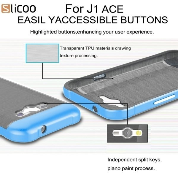 Slicoo Brushed Texture Electroplating PC + TPU Combination Case for Samsung Galaxy J1 Ace / J110 (Blue) (Intl)