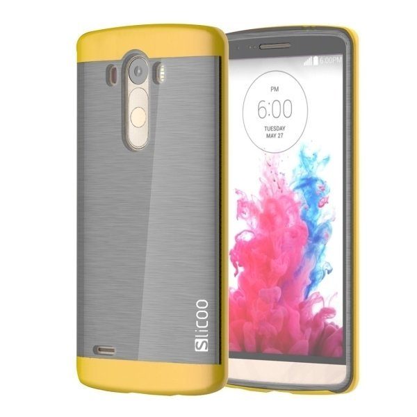 Slicoo Brushed Texture Electroplating TPU + PC Back Case for LG G3 / D855 (Yellow) (Intl)