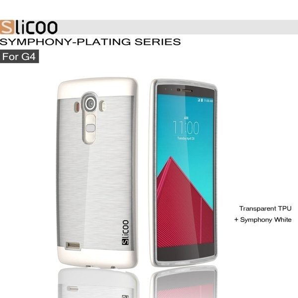 Slicoo Brushed Texture Electroplating TPU + PC Back Case for LG G4/D855 (White) (Intl)