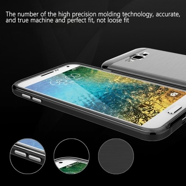 Slicoo Brushed Texture Electroplating TPU + PC Combination Case for Samsung Galaxy E5 / E500(Black) (Intl)