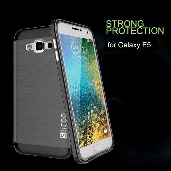 Slicoo Brushed Texture Electroplating TPU + PC Combination Case for Samsung Galaxy E5 / E500(Red) (Intl)