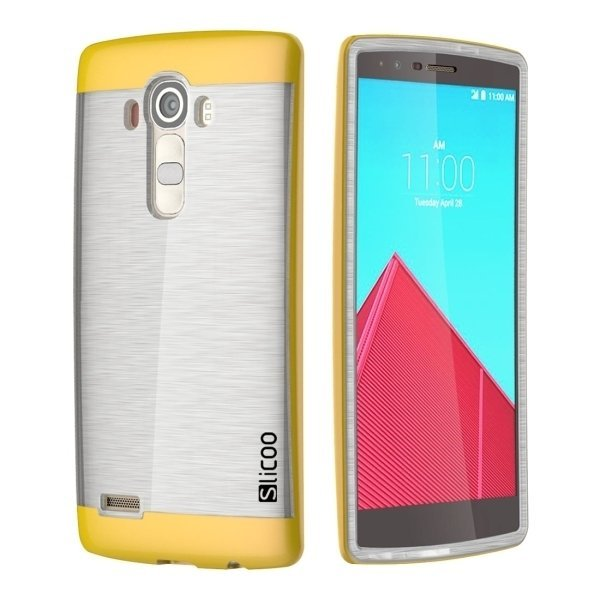 Slicoo Brushed Texture Electroplating Transparent TPU + PC Back Case for LG G4/D855 (Yellow) (Intl)