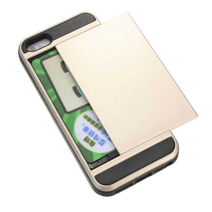 Slide Card Armor Hard Tough Case for Apple iPhone 5s (Gold) (Intl)