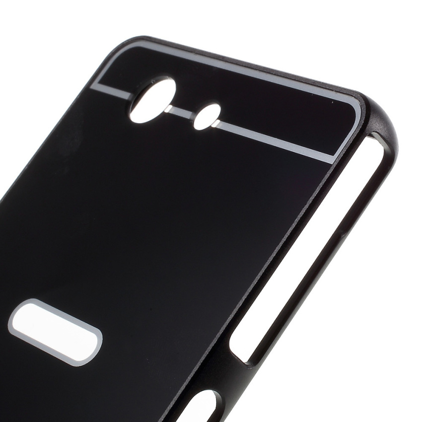 Slide-on Metal Bumper PC Case for Sony Xperia Z3 Compact D5803 D5833 M55w - Black