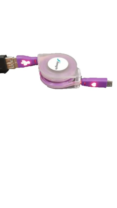 Smart Kabel Data Tarik Smile Warna & Nyala 1m - Ungu