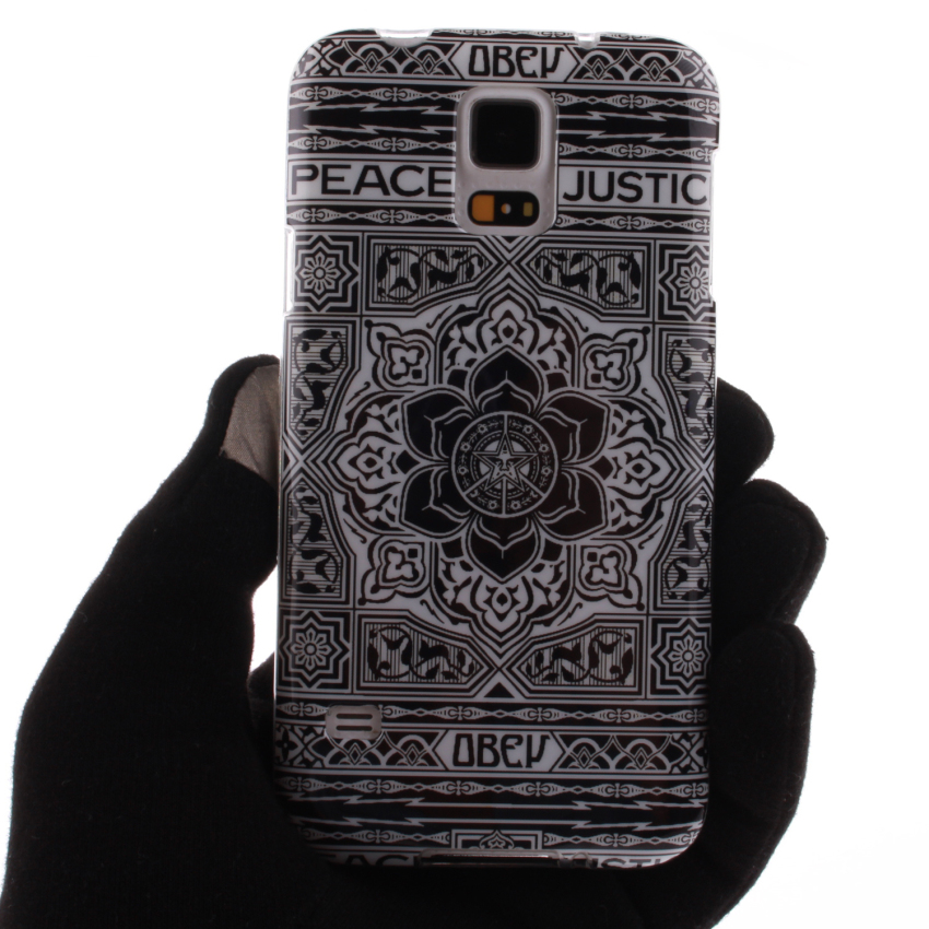 Soft TPU Back Cover With Black Flowers Painting for Samsung Galaxy S5 (Multicolor) (Intl)