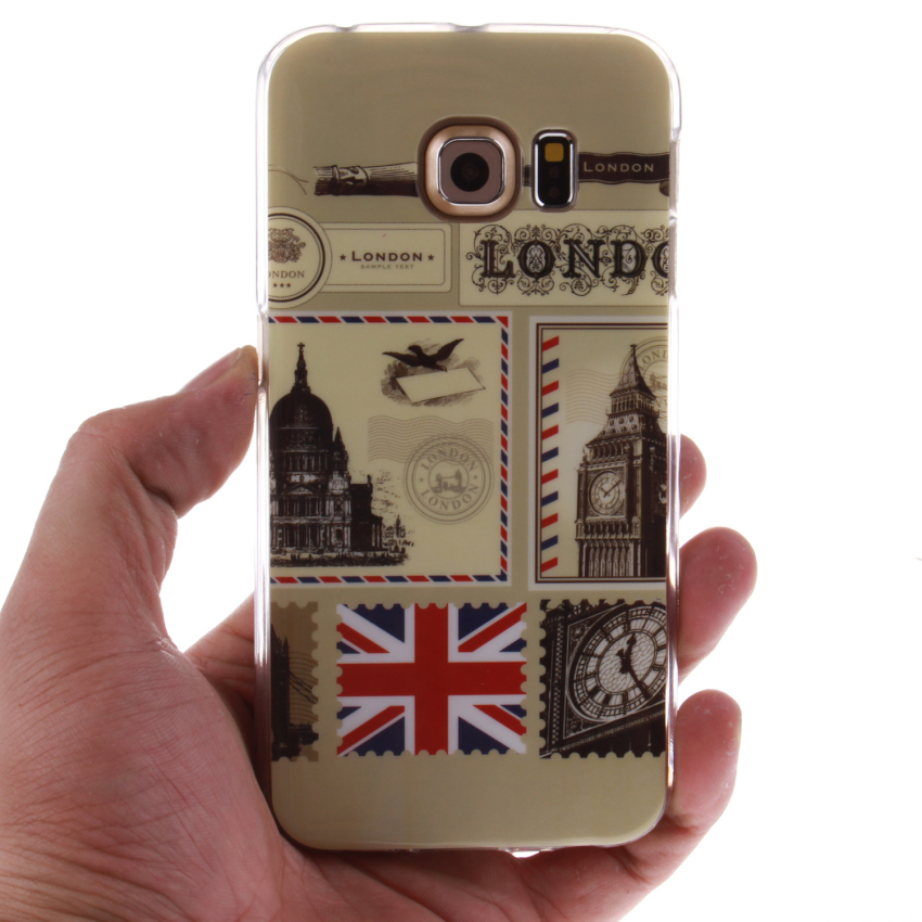 Soft TPU Back Cover With London Post Painting For Samsung Galaxy S6 Edge-Clear (Intl)