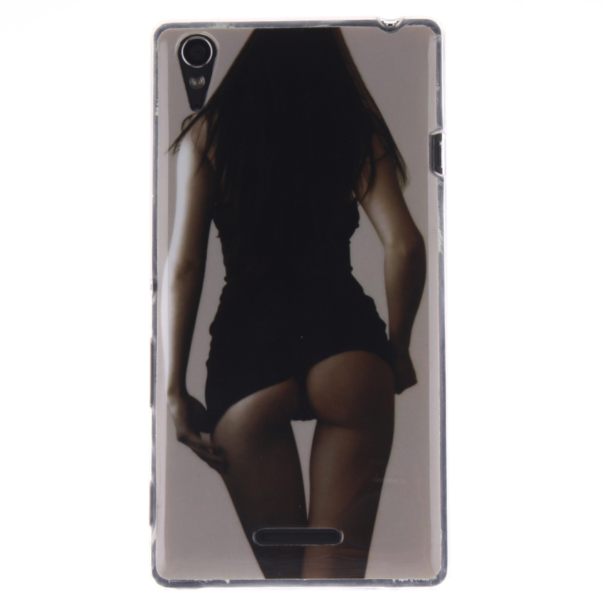 Soft TPU Back Cover with Sexy Gilrl Painting for Sony Xperia T3 (Multicolor) (Intl)