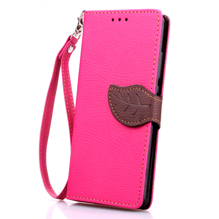 Soft TPU Flip Leather Wallet Cover with Card Slot Holder for Huawei Ascend P8 Lite (Pink) (Intl)