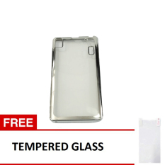 Softcase Lenovo A7000 List Chrome - Silver transparant + Tempered Glass