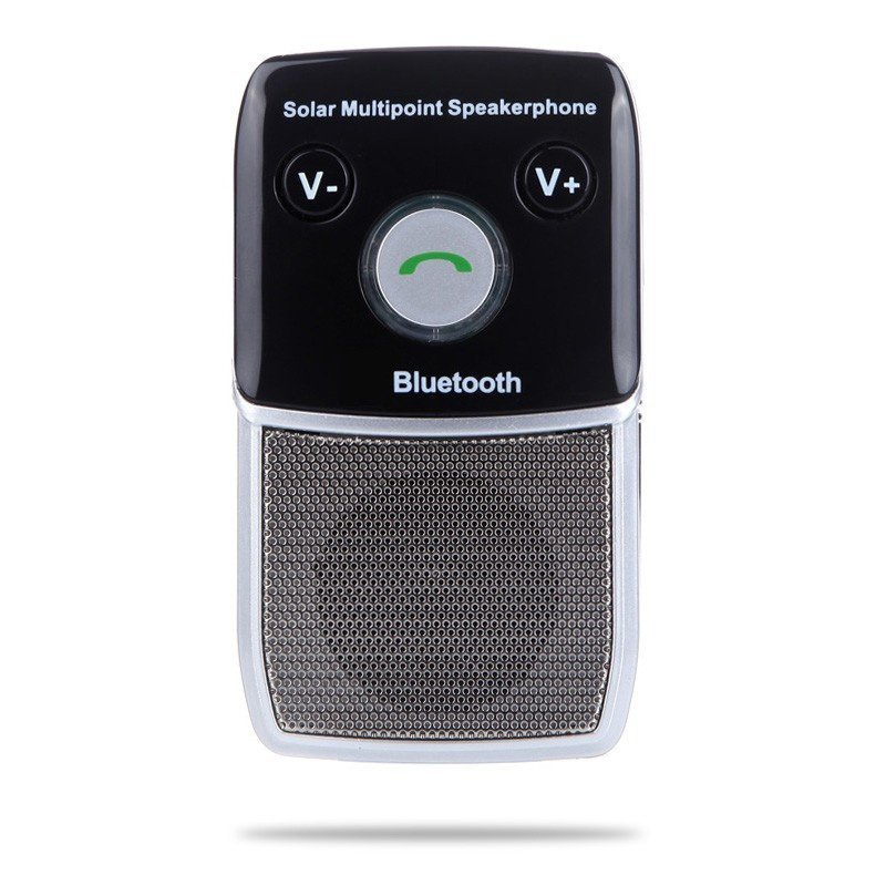 Solar-Powered Wireless Bluetooth Hands Free Car Kit Speakerphone for IPhone HTC Samsung (Intl)