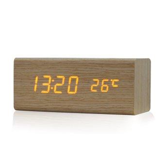 sound control solid wooden desk bedside digital alarm. Black Bedroom Furniture Sets. Home Design Ideas
