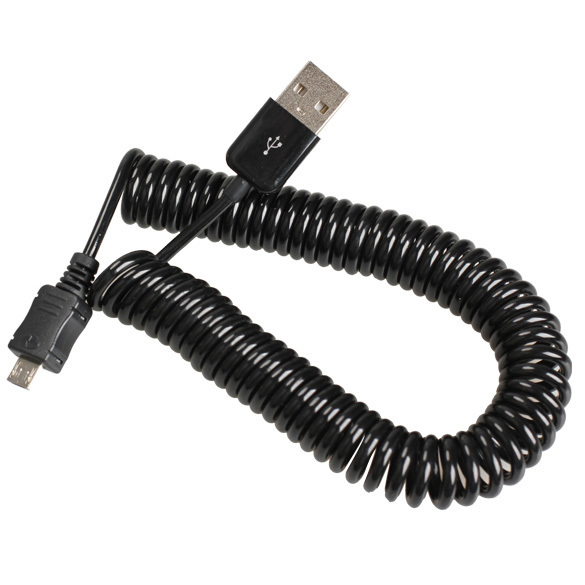 Spiral Coiled USB 2.0 A Male to Micro USB B 5Pin Adaptor Spring Cable