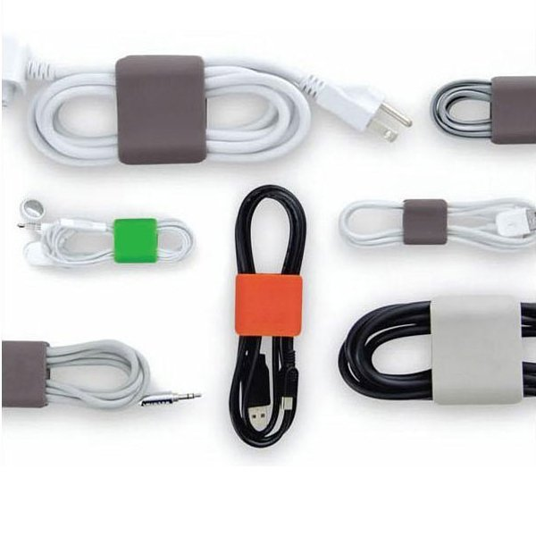 Square Shaped Soft Silicone Cable Cord Winder - 6 pcs/set
