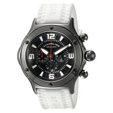Stuhrling Original Men's 'Aviator' Quartz Stainless Steel And Silicone Sport Watch, Color:White (Model: 3CR.3356P20) (Intl)