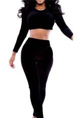Stylebek Crop Top and Pants Set (Black)