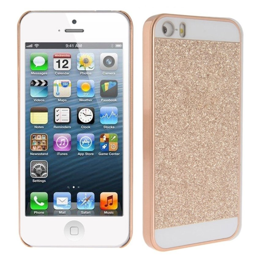 Stylish Shimmering Powder Acrylic Hard Back Case for iPhone 5/5S Tyrants Gold
