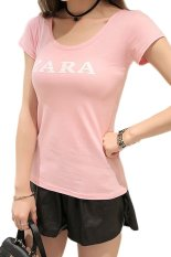 Summer New Women Slim Stretch Letter Printing Korean Style Student T-shirt Pink (Intl)