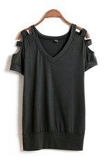 Summer T Shirt Women Tops Tees Shoulder Off T-Shirt Cotton T-Shirt Woman Clothes Femininas Plus Size Tops ArmyGreen - Intl