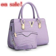 SUNNY SHOP Fashion Patent PU Leather Handbags Socialite Crocodile Grain Women Messenger Bags Fashion Women Shoulder Bags (Purple)