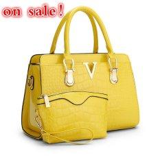 SUNNY SHOP Fashion Patent PU Leather Handbags Socialite Crocodile Grain Women Messenger Bags Fashion Women Shoulder Bags (Yellow)