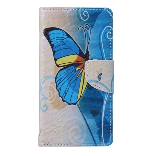 SUNSKY Blue Butterfly Pattern Horizontal Flip Leather Cover for Alcatel Idol 3 4.7inch (Multicolor) (Intl)