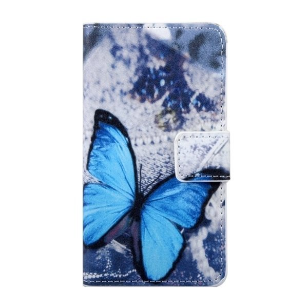 SUNSKY Blue Butterfly Patterns Flip Leather Cover for Samsung Galaxy J1 Ace / J110 (Multicolor) (Intl)