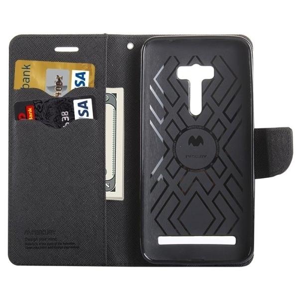 SUNSKY Color Matching Cross Texture Horizontal Flip Leather Cover for Asus Zenfone Selfie / ZD551KL(Black) (Intl)