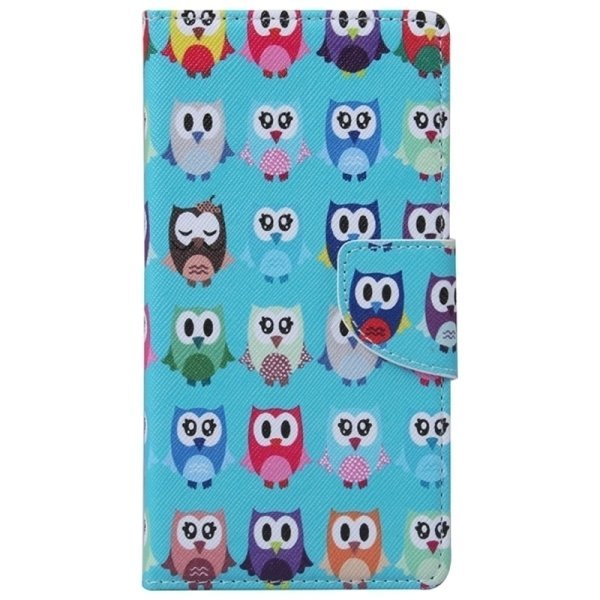 SUNSKY Colorful Owl Pattern Horizontal Flip Leather Case with Holder Card Slots Wallet for Microsoft Lumia 950 (Blue) (Intl)