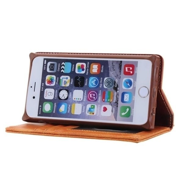 SUNSKY Denim Texture Magnetic Horizontal Flip Leather Cover for iPhone 6 6s (Brown) (Intl)