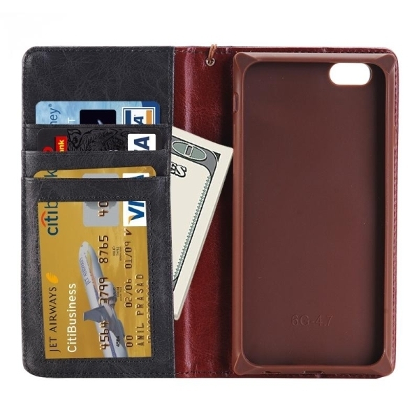 SUNSKY Denim Texture Magnetic Horizontal Flip Leather Cover for iPhone 6 Plus 6s Plus(Black) (Intl)