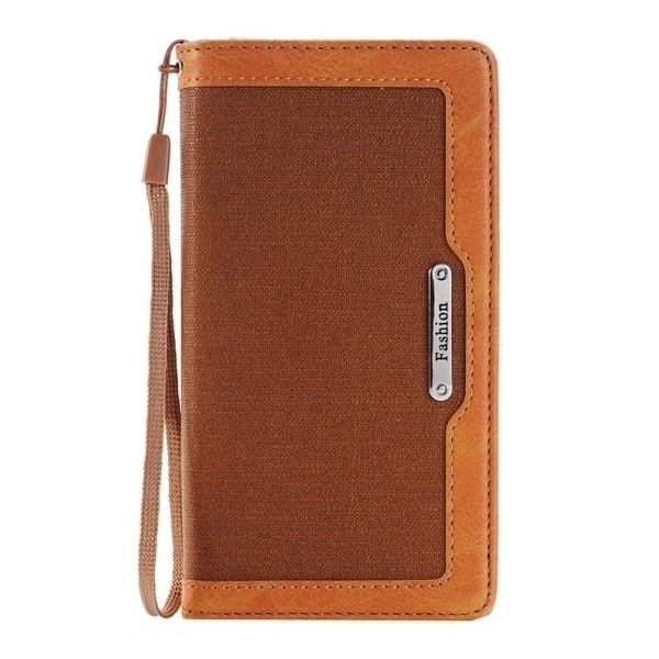 SUNSKY Denim Texture Magnetic Horizontal Flip Leather Cover for iPhone 6 Plus 6s Plus (Brown) (Intl)