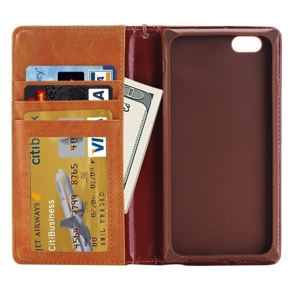 SUNSKY Denim Texture Magnetic Horizontal Flip Leather Cover for iPhone 6 Plus 6s Plus ( Brown) (Intl)