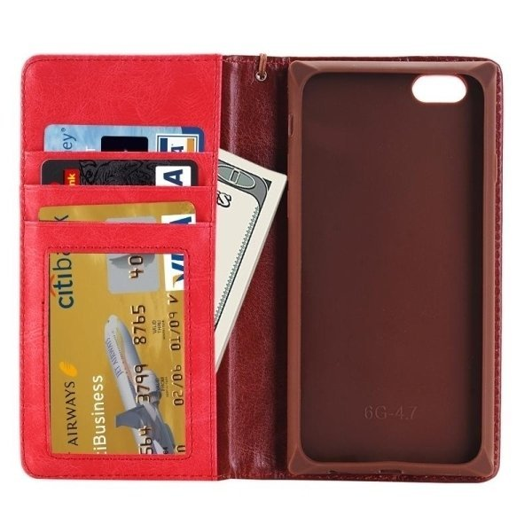 SUNSKY Denim Texture Magnetic Horizontal Flip Leather Cover for iPhone 6 Plus 6s Plus(Red) (Intl)