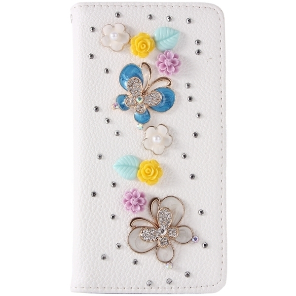 SUNSKY Diamond Encrusted Pattern Horizontal Flip Leather Cover for Samsung Galaxy S6 Edge+ / G928 (White) (Intl)