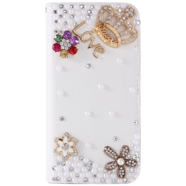 SUNSKY Diamond Encrusted Pattern Horizontal Flip Leather Coverfor Samsung Galaxy S6 Edge+ / G928 (White) (Intl)