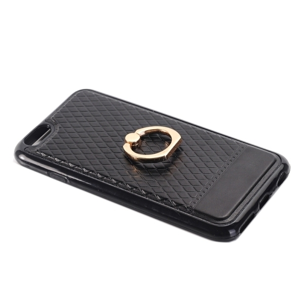 SUNSKY Grid Texture PU Paste Skin TPU Protective Back Case with Ring Holder for iPhone 6/6s (Black) (Intl)