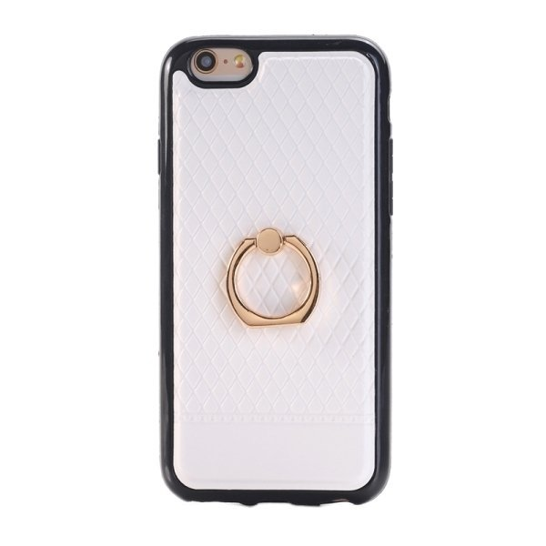 SUNSKY Grid Texture PU Paste Skin TPU Protective Back Case with Ring Holder for iPhone 6 Plus/6s Plus (White) (Intl)