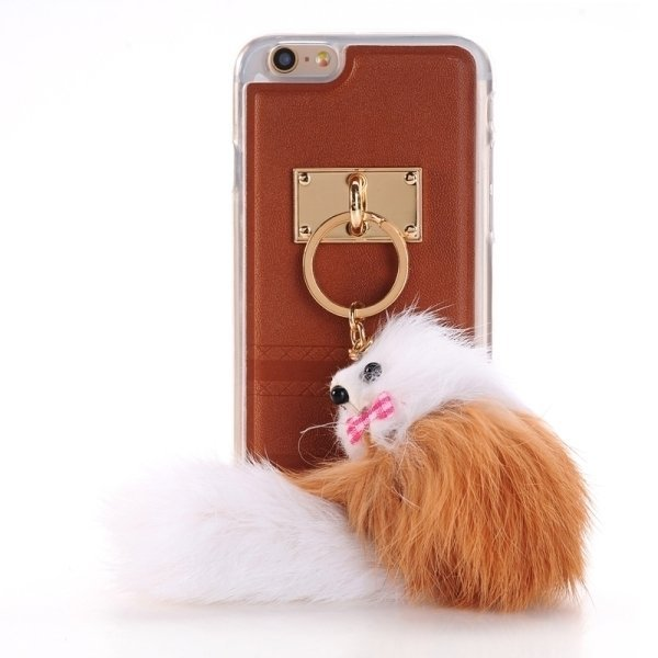 SUNSKY PU Paste Skin TPU Protective Back Case with Fox Pendant for iPhone 6 Plus/6s Plus (Brown) (Intl)