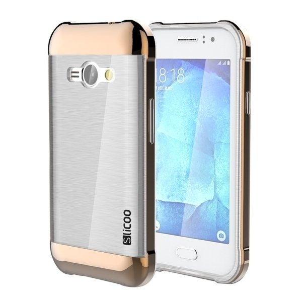 SUNSKY Slicoo Brushed Texture Electroplating Transparenct TPU + PC Combination Case for Samsung Galaxy J1 Ace / J110 (Coffee) (Intl)