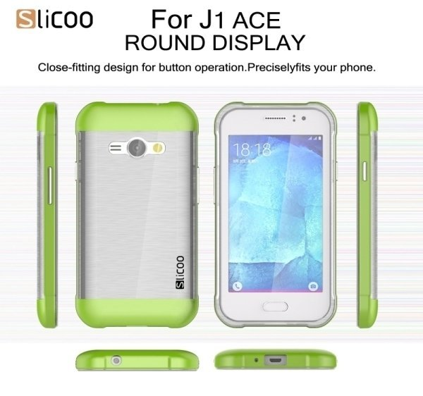 SUNSKY Slicoo Brushed Texture Electroplating Transparenct TPU + PC Combination Case for Samsung Galaxy J1 Ace / J110 (Green) (Intl)