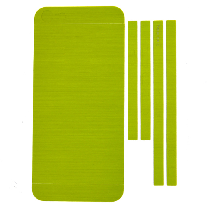 Sunweb Edge Back Protective Skin Sticker Case + 6 Home Button Sticker for iPhone 5 5G ( Green )