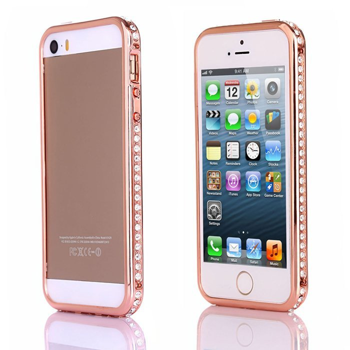 Sunweb Luxury Crystal Rhinestone Faux Diamond Metal Bumper Case for iPhone 5/5S (Rose Gold)